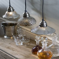Mercury Light Pendants - Mercury glass has a great visual gray texture to it. Love these mixed styles over a kitchen island.