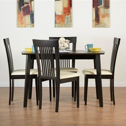 """Aeon Furniture - Dayton Dining Table Set with Hartford Dining - Set includes table and 4 chairs. Dayton Dining Table. Solid Beech Wood Frame. Rich Coffee Finish. Beech Veneer Over MDF Top. Quick  Turn and Flip Easily  Extends Table. Butterfly Extension Leaf. CARB Rated. Assembly Required. Open: 59 in. L x 31.5 in. W x 59 in. W x 29.5 in. H. 47.25 in. L x 31.5 in. W x 29.5 in. H (51 lbs.). Hartford Dining Chairs:. Durable Quality Construction. Comfortable Slatted Back. Beige Leatherette Fire Resistant Padded Foam Seat. CARB Rated. Assembly Required. Seat Height: 18 in.. 21 in. L x 18 in. W x 37 in. H (14 lbs.)With its great look and contemporary design, this extendable dining table meets your dining and entertainment needs while enhancing the look of your home.  The table is constructed of a solid beech wood frame, stained in a rich coffee finish.   The self-contained 17.5"""" extension leaf easily transforms this table from an intimate piece to the social center of your home. Brilliantly crafted simplistic styling and durable quality construction make this dining chair a perfect addition to any home.  Our chairs are made of solid beech wood, featuring a comfortable slatted back."""