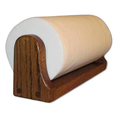 """American Family Woodworking - Oak Paper Towel Holder (Mounted), Dark - UNDER CABINET OR WALL-MOUNTED PAPER TOWEL HOLDER Our Oak paper towel holder features a spring loaded hardwood rod to hold your paper towel roll in the Oak frame. This holder can be mounted under a cabinet or on a wall, either horizontally or vertically using the pre-drilled mounting holes. This is not your plain, boring, plastic paper towel holder! This is a truly a unique kitchen accessory which fits perfectly in all kitchens! This completely handmade paper towel holder is also perfect for the laundry room, garage or workshop. What about your craft room! Even the office! Size: 13 1/4"""" x 3"""" x 4 1/2"""" This paper towel holder also stands out from the rest, because it includes a FULL Spring Loaded Towel Rod. This towel rod is a hardwood design, and high quality."""