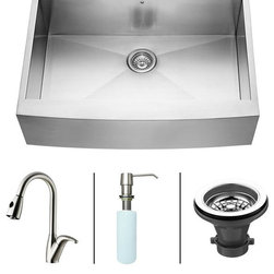 Vigo - VIGO Farmhouse Stainless Steel Kitchen Sink Faucet and Dispenser VG15004 - VIGO-Stainless Steel-Kitchen Sinks Kitchen Sets are fully undercoated and padded with multi layer sound eliminating technology which also prevents condensation.  All Vigo kitchen sinks guaranteed to never rust.  Faucet features spray face that resists mineral buildup and is easy-to-clean. Vigo finishes resist corrosion and tarnishing, exceeding industry durability standards .  Drip-free ceramic disc cartridge.