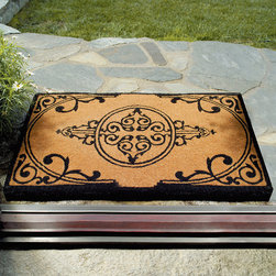 "Frontgate - Imperial Coco Mat - 18"" x 30"" - Entry mat is made from protective natural coir fibers. Thick-pile coco mat is strong and long-lasting throughout the seasons. Mildew-resistant door mat boasts inherent scrubbing powers. Easy to clean: Simply rinse off with a hose. Elegant black scrollwork design. Our Imperial Coco Mat makes a handsome initial impression. This door mat's regal facade is inspired by the antique gateways that proudly stand throughout England.. . . . . Easily traps soil and water. View complete care instructions ."