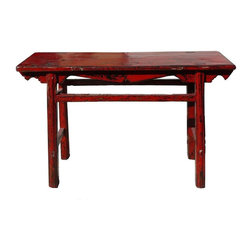 Golden Lotus - Chinese Thick Rustic Red Lacquer Console Altar Table - This is a simple altar table with thick uneven rustic red lacquer on the surface. The lacquer layer may have dry weather effect, dropping off, it will be touched up with blackish red stain.