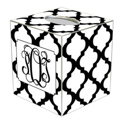 Marye Kelley - Chelsea Grande White Personalized Tissue Box Cover - The Chelsea Grande tissue box cover's custom design exudes modern glam. Featuring silver trim, this personalized monogram accessory's mod Moroccan tile print excites in black and white hues. Available in papier mache, tin and wood; Choose font style; Enter initial, name or monogram exactly as it should appear; Made in the USA