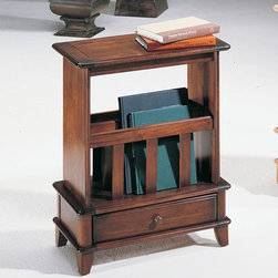 "Hammary - Chairsides Franklin End Table - Traditional in design with a unique look, the Chairsides Franklin End Table will be an excellent choice for your home. This handy end table is perfect for keeping magazines and books with its slatted section above one drawer, ideal for small but necessary items. Use it as an end table or a convenient end table - the choice is yours! Features: -Shaped top. -Slats provide magazine storage. -One bottom drawer. -All Hammary products have some distressing. -Overall Dimensions: 27"" H x 22"" W x 11.5"" D."