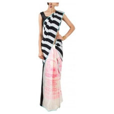 Black and white striped and pink saree available only at Pernia's Pop-Up Shop.