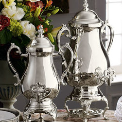 """Horchow - 25-Cup Coffee Urn - Silver-plated coffee urns are serving essentials. Available in two sizes to suit your crowd. 25-cup coffee urn is 12""""W x 9.5""""D x 20""""T. 50-cup urn is 14""""W x 12""""D x 22.5""""T."""