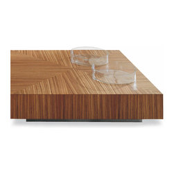 Minotti - Minotti Life Coffee Table - Derived from the cube, the simplist volume of all.  Raised from the ground as much as needed, on a stell base, to provide adequate lightness.  Covered with fine wood.  The same source of inspiration for one of the many possible variants, namely a lower one, in the middle of the living area.  Plastic and poetic. Available in a variety of finishes: natural walnut or dark walnut and also in lacquered oak (mocha or black).  Two sizes available.  Price includes shipping to the USA.  Manufactured by Minotti.