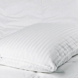 None - Cotton Sateen Woven Stripe Pillow Protectors (Set of 2) - Sleep in luxurious comfort when you add these woven pillow protectors to your bedding. Featuring satin piping,this set of two protectors will add an extra layer of comfort as you rest your head. The striped weave brings a bit of style to your bed.