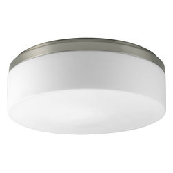 "Progress Lighting - Progress Lighting Maier CFL Maier Energy Efficient 14"" Flush Mount Ceiling Light - Free of unnecessary adornments, this stunning Progress Lighting flush mount ceiling light is ideal for those who want ample light without an excessively decorative look. From the Maier Collection, this energy efficient and modern flush ceiling light pairs a crisp Brushed Nickel finish with a clean cylindrical etched white opal glass diffuser. Damp location listed. Title 24 compliant."