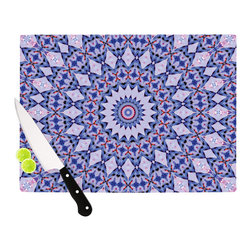 """Kess InHouse - Iris Lehnhardt """"Kaleidoscope Blue"""" Circle Blue Cutting Board (11"""" x 7.5"""") - These sturdy tempered glass cutting boards will make everything you chop look like a Dutch painting. Perfect the art of cooking with your KESS InHouse unique art cutting board. Go for patterns or painted, either way this non-skid, dishwasher safe cutting board is perfect for preparing any artistic dinner or serving. Cut, chop, serve or frame, all of these unique cutting boards are gorgeous."""