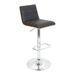 "Lumisource - Vasari Bar Stool, Walnut + Black Matte Pu + Tan Stitching - 20.25""L x 14.75""W x 35.75-40.5""H Seat height: 27.25 - 32"""