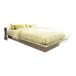Sonax - Sonax Plateau Queen Platform Bed with Headboard in Frost White - Sonax - Beds - Q112LPBH112LPBKit - Invite modern style into your bedroom with this contemporary Queen bed with Headboard from the Plateau Bed Collection by Sonax. This bed can be completed without a box spring.