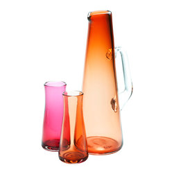 Esque - Midcentury Coolade Set, Fuschia - Drink in the candy colors and midcentury style of this art glass beverage set. In Jetsons-meets-science-class beaker shapes, the 14-inch-tall pitcher and two 5-inch-tall cups come in your choice of fucshia or apricot. Stir up a batch of Tang or Tom Collinses and pour on the fun.