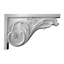 """Ekena Millwork - 11 3/4""""W x 7 3/4""""H x 3/4""""D Large Acanthus Stair Bracket, Right - 11 3/4""""W x 7 3/4""""H x 3/4""""D Large Acanthus Stair Bracket, Right. With the beauty of original and historical styles, decorative stair brackets add the finishing touch to stair systems. Manufactured from a high density urethane foam, they hold the same type of density and detail as traditional plaster stair bracket products. They come factory primed and can be easily installed using standard finishing nails and/or polyurethane construction adhesive."""