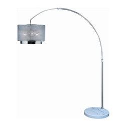 Joshua Marshal - One Light Brushed Nickel Smoke Shade Mirror Two Tier Shade Floor Lamp - One Light Brushed Nickel Smoke Shade Mirror Two Tier Shade Floor Lamp