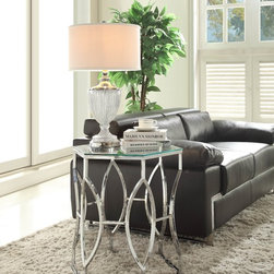Homelegance - Homelegance Mila Geometric Glass Top End Table in Chrome - - 4664.  Product features: Mila Collection; Geometric Glass Top; Chrome finish. Product includes: End Table (1). Geometric Glass Top End Table in Chrome belongs to Mila Collection by Homelegance.