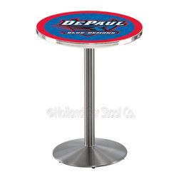 Holland Bar Stool - Holland Bar Stool L214 - Stainless Steel Depaul Pub Table - L214 - Stainless Steel Depaul Pub Table belongs to College Collection by Holland Bar Stool Made for the ultimate sports fan, impress your buddies with this knockout from Holland Bar Stool. This L214 DePaul table with round base provides a commercial quality piece to for your Man Cave. You can't find a higher quality logo table on the market. The plating grade steel used to build the frame ensures it will withstand the abuse of the rowdiest of friends for years to come. The structure is 304 Stainless to ensure a rich, sleek, long lasting finish. If you're finishing your bar or game room, do it right with a table from Holland Bar Stool. Pub Table (1)