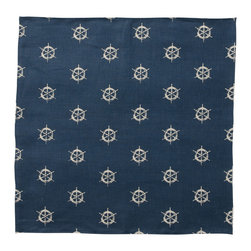 Cricket Radio - Montauk Wheels Napkin, Set of 2, Navy/Tan - Hey, Skipper. Style's ahoy when you add these jaunty napkins to your table. Each set of two features a captain's wheel pattern hand-printed using ecofriendly inks on Italian linen. And they come in your choice of colors so you can steer your next dinner party in a nautical direction.