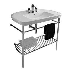 "WS Bath Collections - Nova Washstand in Ceramic White 39.4"" - Features:"