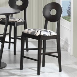 Coaster - Gregory Counter Height Stool, Cappuccino - Set of 2 - The round motif throughout creates a unique focal point for your casual dining space. The table top features a black glass in the center for an updated look. Chairs come in a hip black and white pattern with oval back finished in a deep cappuccino. Simple yet sophisticated, the counter height stools will provide comfortable, cushioned seating with an inspiring design.