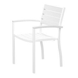 PolyWood - Euro Armchair by Polywood, White/White - Contemporary design meets casual comfort in the Polywood® Euro Dining Arm Chair. This modern chair, with its spacious seat and comfortable arms, will add a touch of sophistication to your outdoor entertaining space. Whether you're creating a sitting area or need coordinating seating for your Euro dining table, this attractive, low-maintenance chair is ideal. It's made in the USA with a sturdy aluminum frame and eco-friendly, fade-resistant Polywood recycled lumber slats. While it has the appearance of painted wood, it requires none of the maintenance real wood does. Backed by a 20-year warranty, this chair won't splinter, crack, chip, peel or rot. It's also resistant to nature's elements, stains, corrosive substances, insects, fungi, salt spray and other environmental stresses. In addition, this chair is easy to clean and it never has to be painted, stained or waterproofed.