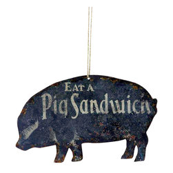 Pig Sign Wall Decor - The writing is on the wall, and it's telling you to eat a sandwich. Can't argue with that! This cute and quirky piece of wall decor is a win for any rustic home. With its classic tin construction, it has all the appeal of a vintage piece. Hang it in your kitchen for some classic diner charm.