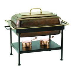 Old Dutch International - Rectangular Antique Chafing Dish - Includes wrought iron stand. Copper plated. Made from steel. 21 in. L x 16 in. W x 19 in. H (28 lbs.)8 Qt. rectangular antique copper chafing dish. 8 Qt. Stainless steel food pan is oven safe to 350F, water-bath design keeps food at the perfect serving temperature without drying out. Chafing dish features brass knob and accented rim.