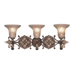 Fine Art Lamps - Stile Bellagio Sconce, 175550ST - Imbue your space with ambient light from this beautiful wall sconce. A trio of handblown glass trumpets gives off the glow from a crackle-finished leather frame with stained silver-leaf accents.