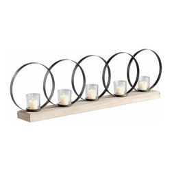 Iron and Natural Wood Circles 5 Candle Votive Candleholder - *Ohhh Five Candle Candleholder