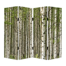 Prolific Forest Screen - Keeping company with this particular birch society may encourage a more holistic approach to your daily doings. This lovely screen features the company of white birch trees mingled with early spring leaves, and advocates for nothing less than the restoration of your rights to tranquility.