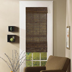 None - Jakarta Cocoa Bamboo Roman Shade - The Jakarta Roman shade is constructed of renewable bamboo in a rich cocoa finish. This shade easily installs in minutes and comes with all necessary hardware for easy installation.