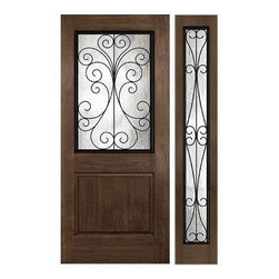Rustic Series Doors - CAMELIA W WROUGHT IRON FRAME_Two Panel _Square Panel, Square Top