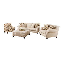 Chelsea Home Furniture - Chelsea Home Hazel 4 Piece Living Room Set in Simply Linen - Style Transitional, Mechanism or Special Decorative Features Includes Toss Pillows as shown, Fabric Swatch Fabric Samples Avaliable by Mail, Cover Choices Simply Linen with 2 Pillows in Ogee Bronze and 2 in Patches Bronze, Seating Comfort Medium, Frame Construction The majority of the frames are constructed with all solid kiln dried hardwood The remaining frames consist of solid kiln dried Hardwood and Engineered Wood Products The stress points are reinforced with blocks to secure a long lasting frame, Spring System The sinuous springing system is manufactured with a reinforced 16 gauge border wire to maintain a uniform seating  Double springs are used on the ends nearest the arms to give balance in the seating, Cushion Composition 22 Reflex Hi Density Foam Dacron Wrapped Cushions, Fabric 34 Polyester 66 polypropelene, Fabric 34 Polyester 66 polypropelene, Sofa 1, Chair 1, Ottoman 1, Accent Chair 1