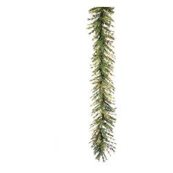 "Vickerman - Mixed Country Pine Garl 240 Tip (9' x 16"") - 9' x 16"" Mixed Country Pine Garland With 240 Tips, 60 Cones, Grapevines"