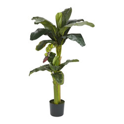 "Nearly Natural - 5 ft.+3 ft. Banana Silk Tree w Bananas - Features a five and three foot tall tree. Leaves are a variety of vibrant green. The plant is enhanced with tiny bananas. Construction Material: Polyester material, Plastic. 38 in. W x 38 in. D x 60 in. H ( 10 lbs. ). Pot Size: 8 in. W x 7 in.HOur multi sized Banana Silk Tree features a five and three foot tall tree. Its thick, shade-giving leaves are a variety of vibrant green hues. The illusion of a real banana plant (minus spoilage) is enhanced with tiny bananas just sprouting underneath.  It's perfect for the office or to be waiting for you when you ""wanna go home"". Set in an eight inch pot with faux soil."