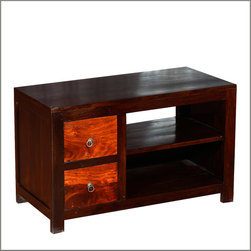 """Santa Fe Sunset Indian Rosewood TV Stand Media Console - Be inspired with the blazing colors of a summer sunset in the dessert with our solid hardwood 36"""" Sunset Entertainment Cabinet."""