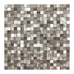 Eden Mosaic Tile - 3D Silver and Pewter Aluminum Square Mosaic Tile, Sheet - Like a trove of perfectly square treasures, this 3D glass and aluminum mosaic with hints of pewter is befitting of a modern queen. Feel free to give your kitchen, bath or fireplace the royal treatment. Bowing optional. Samples are approximately 1/6 to 1/4 of a regular sized sheet. Please note: Sample tiles are not returnable. Only one sample per style is allowed. Only five samples may be ordered.
