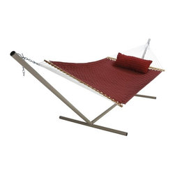 "Pawleys Island - Large SoftWeave Hammock - Burgundy - The wicker-like weaving pattern of cushiony, cottony-soft, all-weather fabric ribbons is as charming to look at and comfy to recline in as it is tough against the elements.  Hammock stand and pillow sold separately.  Total length 13', bed size 55x82""."