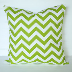 Chevron Green Pillow Cover by The Lacey Placey - The green chevron pattern makes me think of the spiky little blades of new, early-spring grass.
