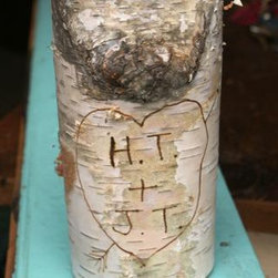 Birch Tree Candle - This holder is totally rustic and nature inspired. The best part is that you can have your own initials carved on it!
