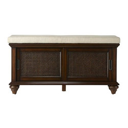 Home Decorators Collection - Ansley Shoe Storage - The Ansley Shoe Storage is crafted of poplar wood and birch veneer in walnut finish and includes sliding rattan doors. The top is designed with an ivory fabric cushion, and attached to its base are bun feet. Coordinates with other items from our Ansley Collection. Walnut finish. Holds up to eight pairs of shoes.