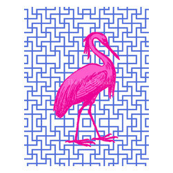 Hot Pink Egret on Navy, Facing Right Giclée by The Pink Pagoda - This fabulous giclée with a hot pink egret on navy lattice comes facing right and left for a great pair.