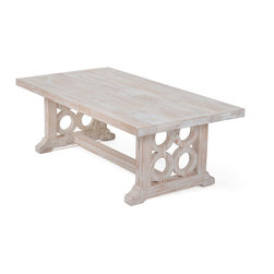 Elsworth Coffee Table - Add the finishing touch to your furniture set with this unique accent piece. The white-washed wood follows the classic rustic look, but the classic structure makes this coffee table a standout piece in a variety of decors.