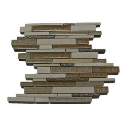Sample Shangri-La Crema Marfil Random Brick Glass and Stone Tile Sample - Sample-Shangri-La Crema Marfil Random Brick Glass and Stone Tile Sample  Samples are intended for color comparison purposes, not installation purposes.   -Glass Tiles -