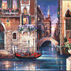 The Tile Mural Store (USA) - Tile Mural - Jl - Streets Of Venice I - Kitchen Backsplash Ideas - This beautiful artwork by James Lee has been digitally reproduced for tiles and depicts a Venice water scene.  Waterview tile murals are great as part of your kitchen backsplash tile project or your tub and shower surround bathroom tile project. Water view images on tiles such as tiles with beach scenes and Mediterranean scenes on tiles Tuscan tile scenes add a unique element to your tiling project and are a great kitchen backsplash idea. Use one or two of our landscape tile murals for a wall tile project in any room in your home for your wall tile project.