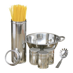 Cookpro - 6-piece Stainless Steel Pasta Gift Set with 4-quart Cheese Colander - Stick a feather in your cap. You'll be serving more than macaroni with this pasta set all made of sleek, shiny stainless steel. There's a storage canister with a see-through lid, a culinary-themed colander, a pasta server and salt, pepper and cheese shakers — all ready to create a dandy meal for you or someone on your gift list.