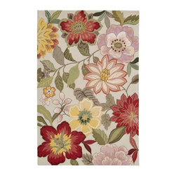 """Nourison - Country & Floral Fantasy 8'x10'6"""" Rectangle Ivory Area Rug - The Fantasy area rug Collection offers an affordable assortment of Country & Floral stylings. Fantasy features a blend of natural Ivory color. Handmade of 70% Pet   30% Acrylic the Fantasy Collection is an intriguing compliment to any decor."""