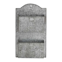 BZBZ49107 - Two Tiered Metal Galvanize Wall Pocket with Letterbox Design - Two tiered metal galvanize wall pocket with letterbox design. Some assembly may be required.