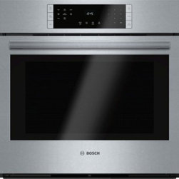 "Bosch - 800 Series HBL8451UC 30"" Electric Single Wall Oven with 4.6 cu. ft. Capacity  To - Boschs 800 series 30 single wall oven installs flush and features a SmoothClose door The dampened hinges on this wall oven softly and quietly guide the SmoothClose door shut This elegant looking wall Oven is designed to be installed flush with your c..."