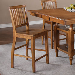 Steve Silver Candice Slat Back Counter Chair in Oak [Set of 2]